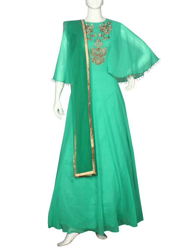 Green designer suit with zardosi and zari embroidery