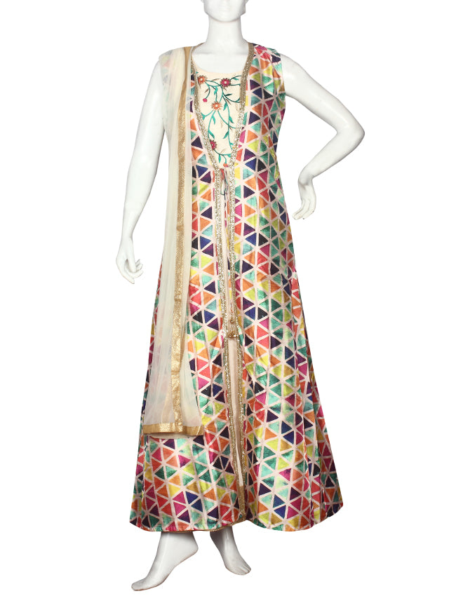 Cream jacket style printed suit with resham and zari embroidery