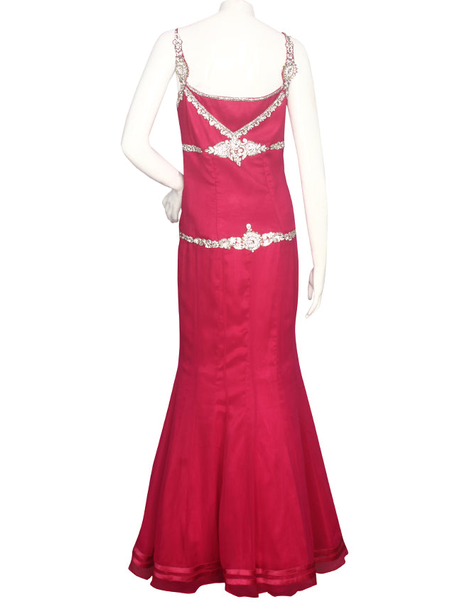 Dark pink party wear gown with diamante work