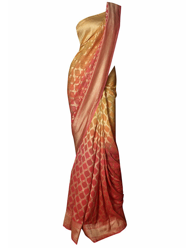 Yellow and peach shaded saree with self weaving