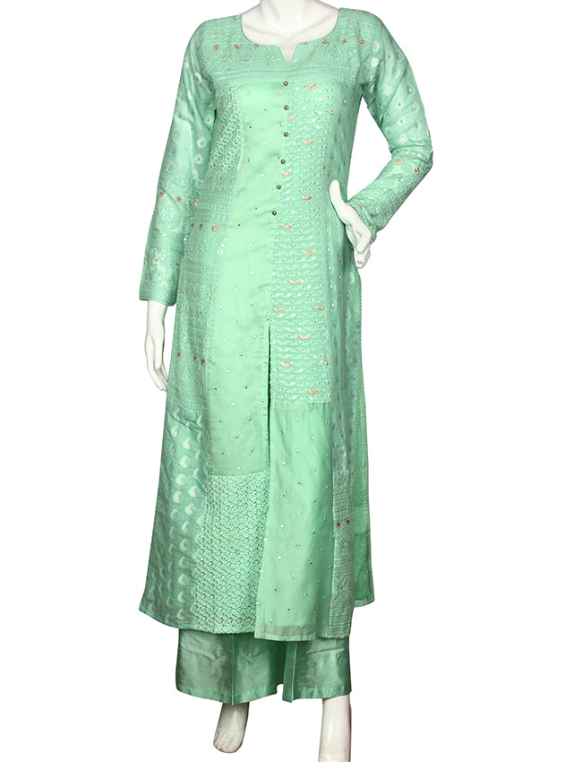 Pista green palazzo suit with chikankari embroidery