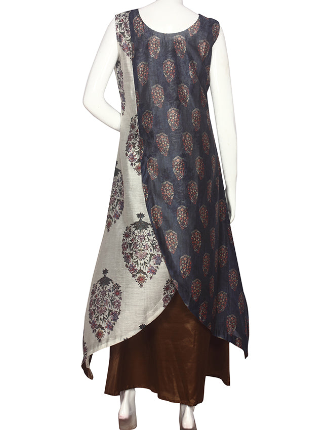 Trendy blue printed overlapped style kurti