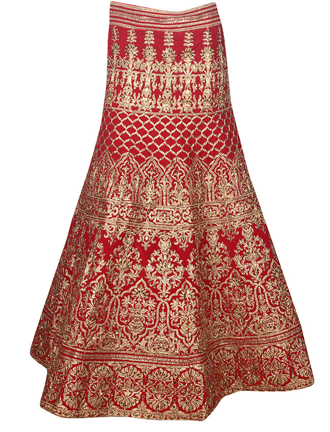 Red bridal unstitched lehenga with zari cording and handwork