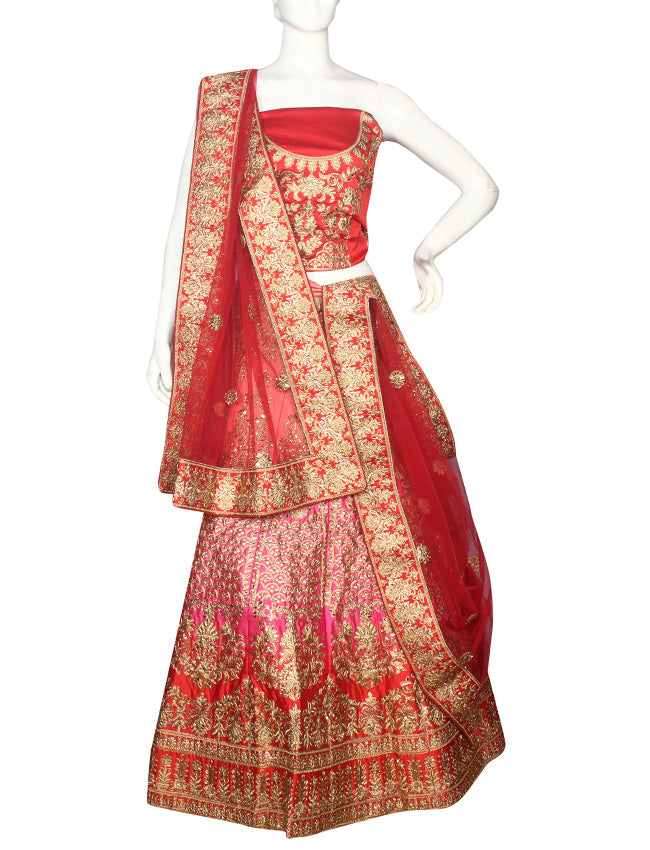 Shaded red pink unstitched lehenga with zari cording and handwork