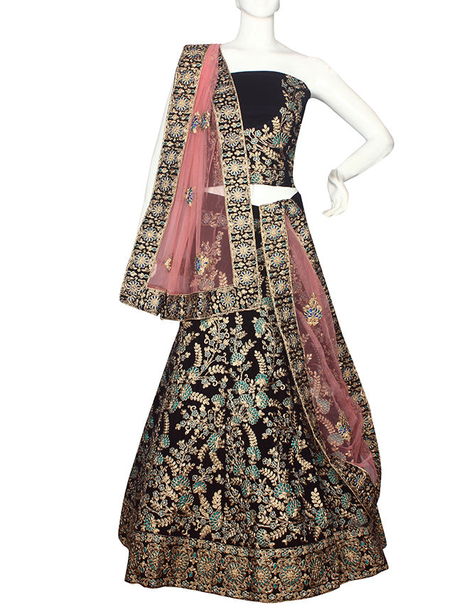 Navy blue unstitched lehenga with zari cording and kundan resham embroidery