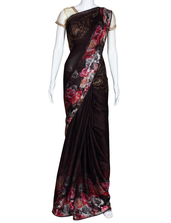 Black printed party wear saree with swarovski