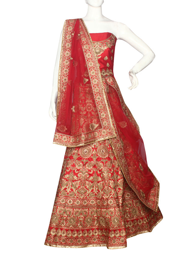 Red bridal unstitched lehenga with kundan and zari embroidery