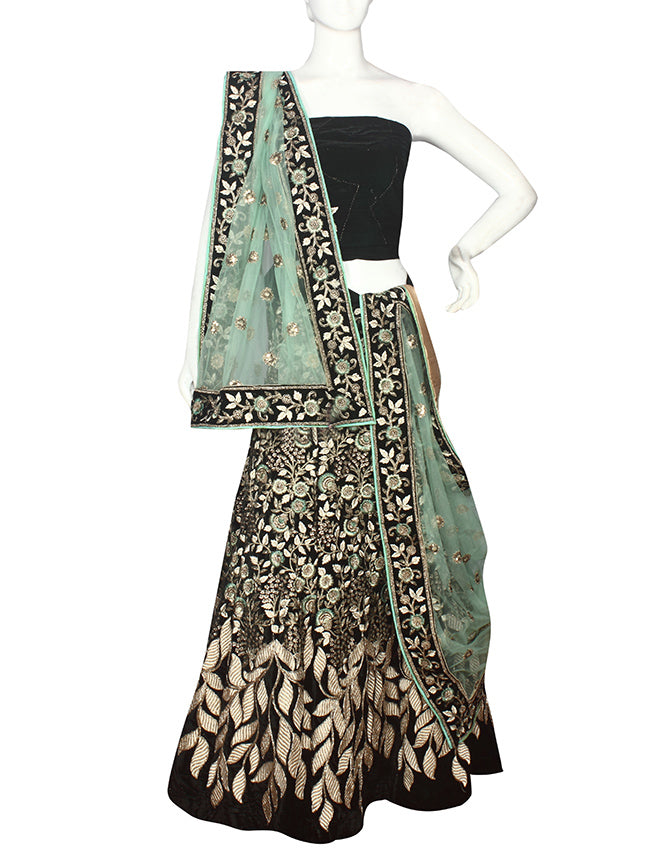 Bottle green unstitched lehenga with sequins zari and resham embroidery