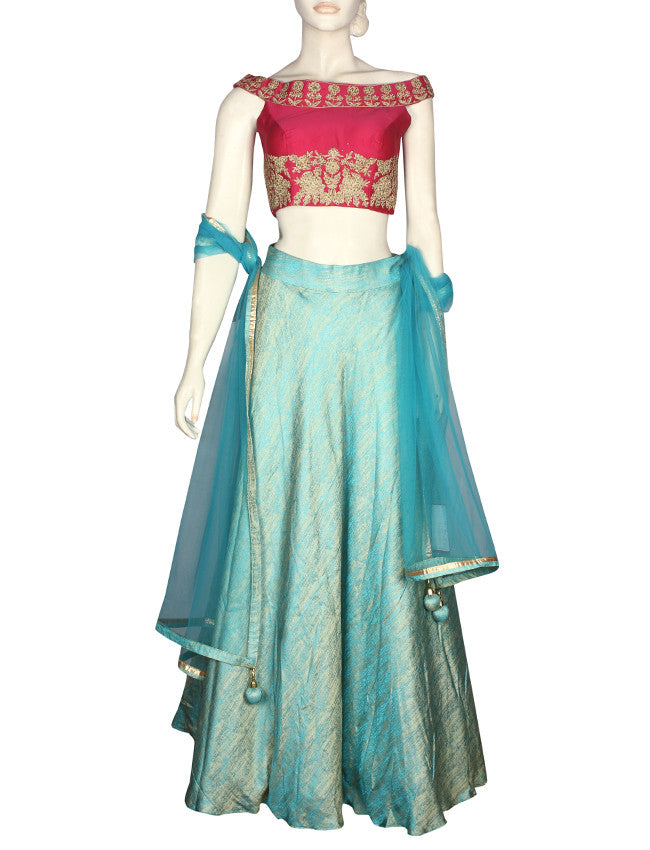 Aqua blue deep pink indowestern lehenga with kundan and zari cording
