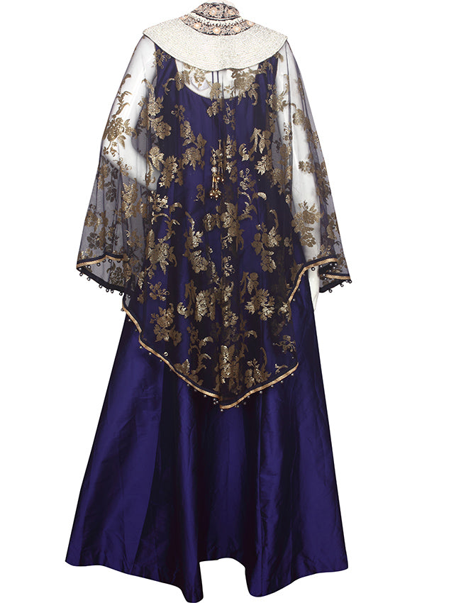 Blue cape gown with zero pearl diamante zardosi and pearl work