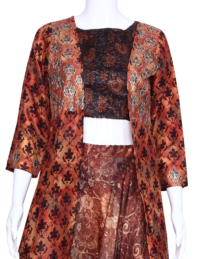 Brown printed three piece suit with zari embroidery