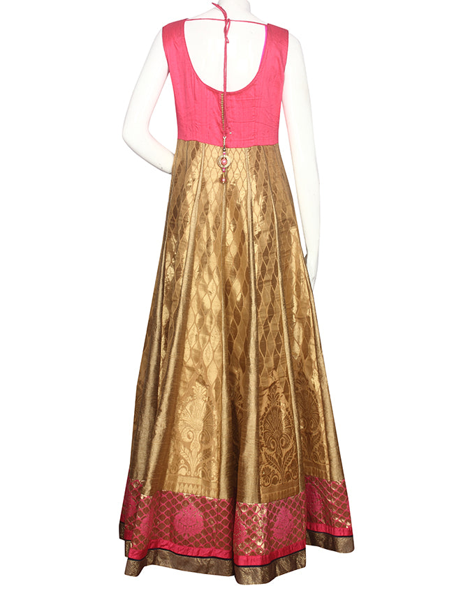 Golden deep pink anarkali with stones and pita work