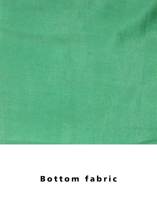 Parrot green unstitched suit with zari embroidery and gotta patti