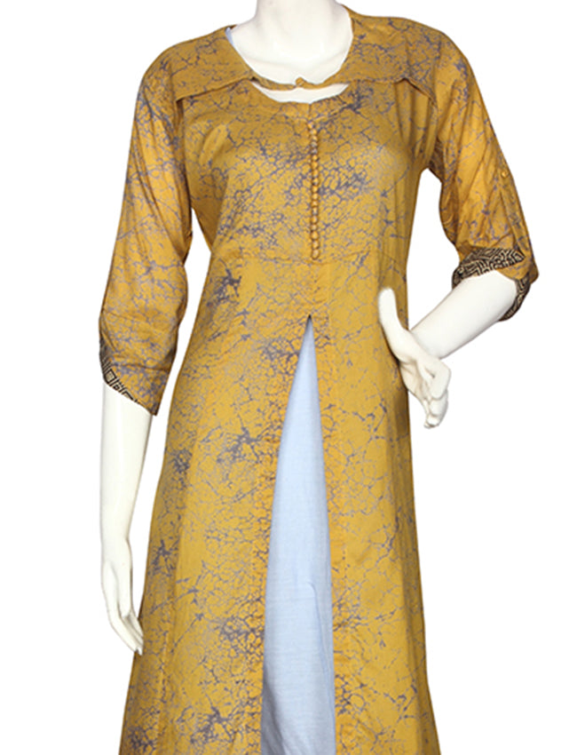 Mustard yellow printed jacket kurti