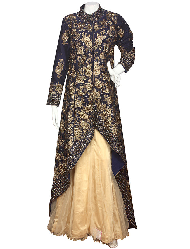 Navy blue cream jacket lehenga with cutdana mirror and zari embroidery