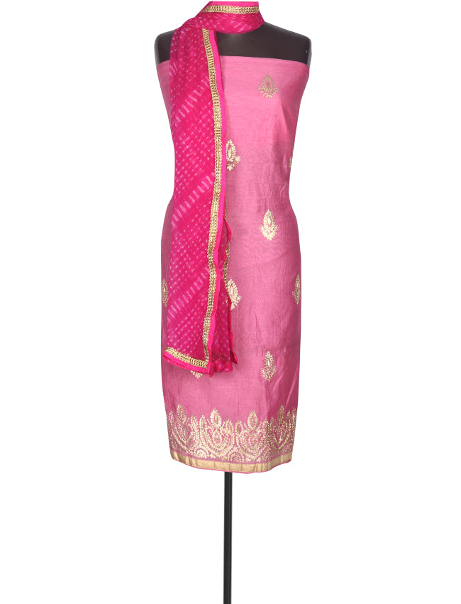 Rose pink unstitched suit with zari embroidery