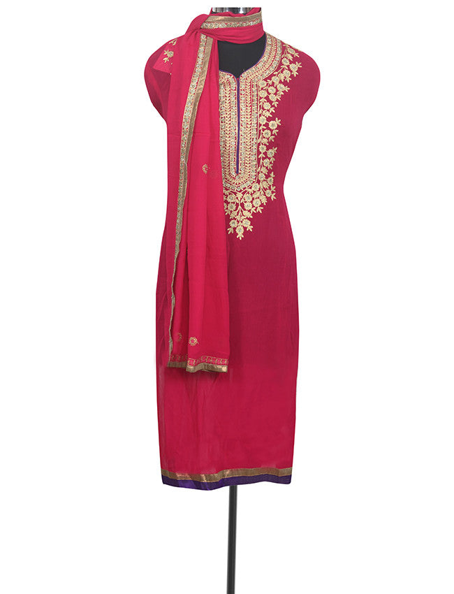 Dark pink semistitched suit with zari embroidery