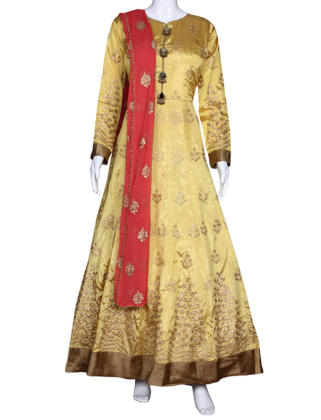Yellow anarkali suit with zari embroidery