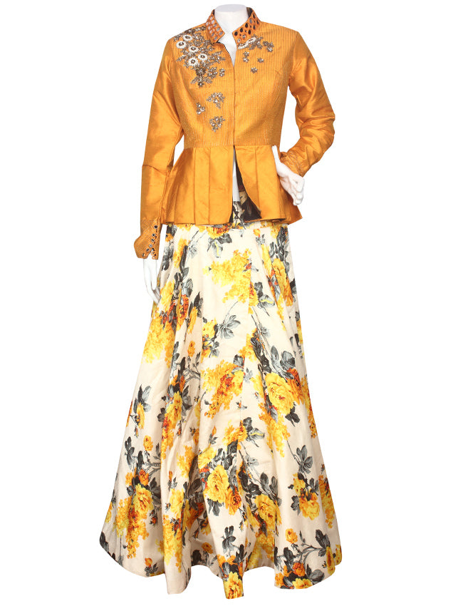Cream yellow printed indowestern lehenga with mirror and handwork
