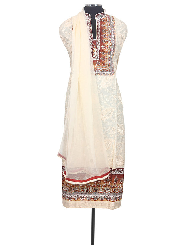 Cream semistitched suit with machine embroidery