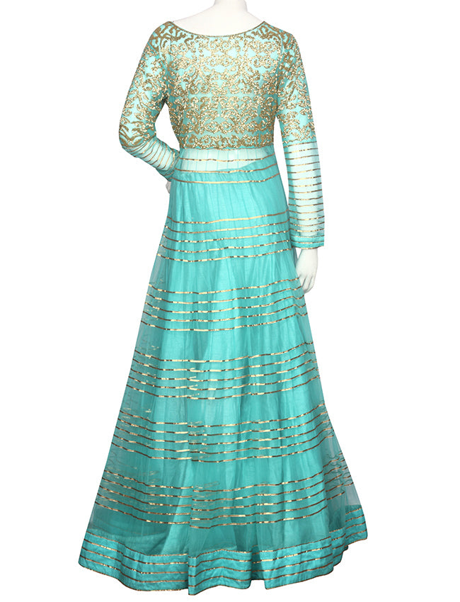 Aqua blue indowestern lacha with cutdana work