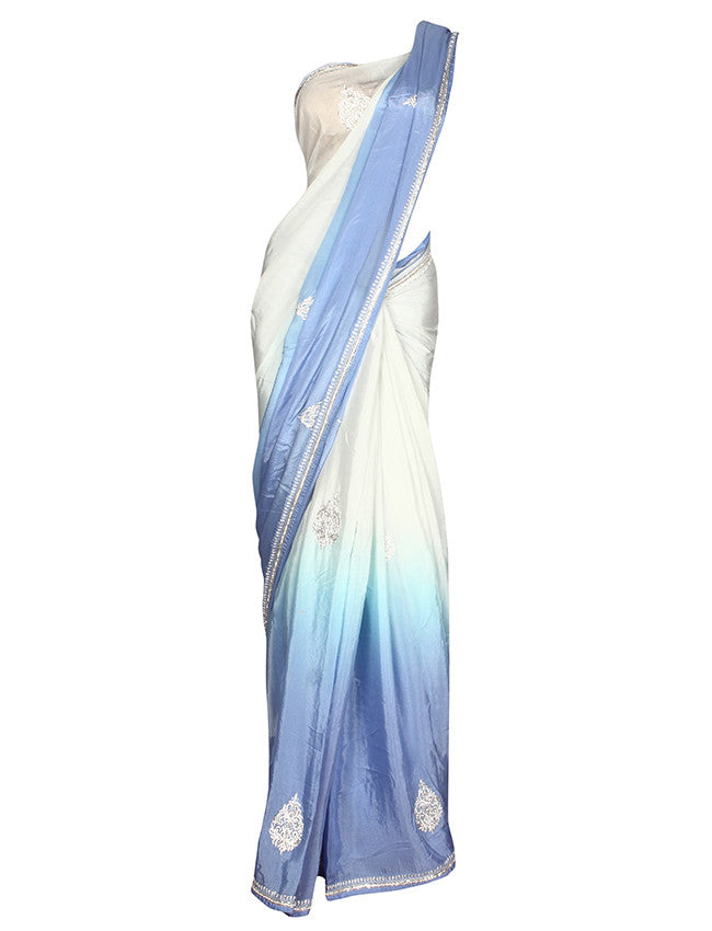 Light blue white shaded saree with zardosi and diamante work