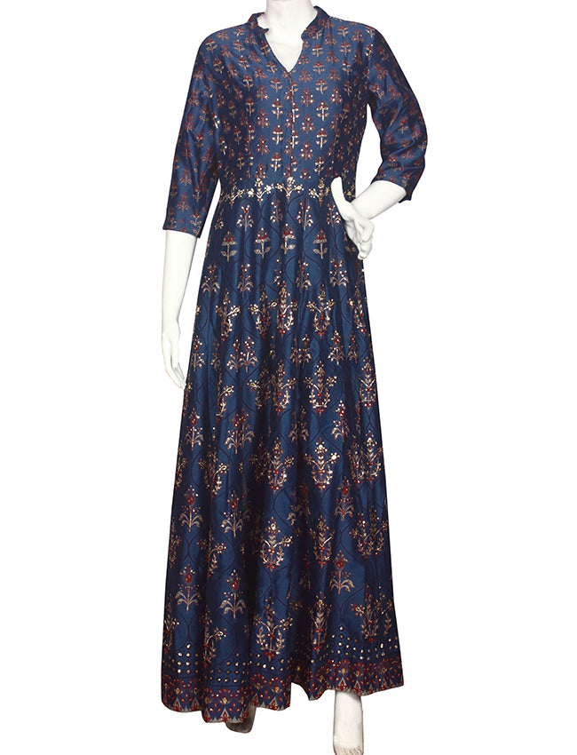 Blue printed anarkali with sequins and gotta patti
