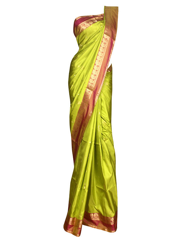 Parrot green silk saree with self weaving