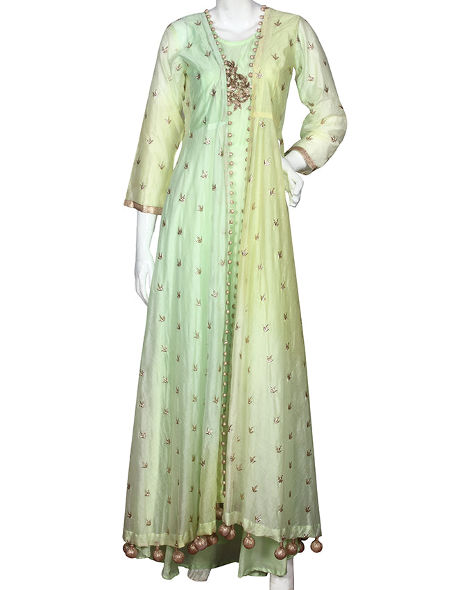 Pista green and lemon yellow shaded jacket kurti with zari and handwork