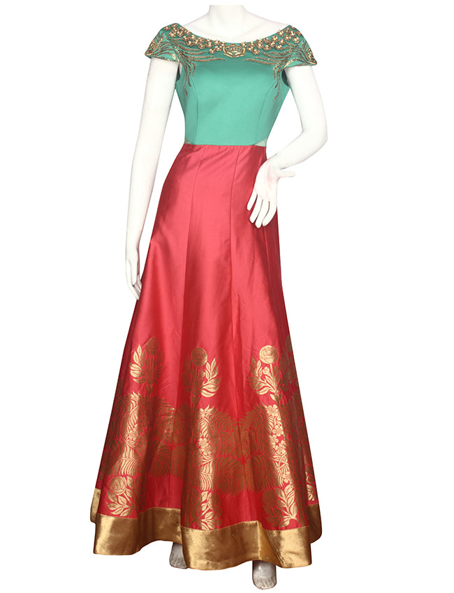 Carrot peach sea green anarkali with pita and zari embroidery