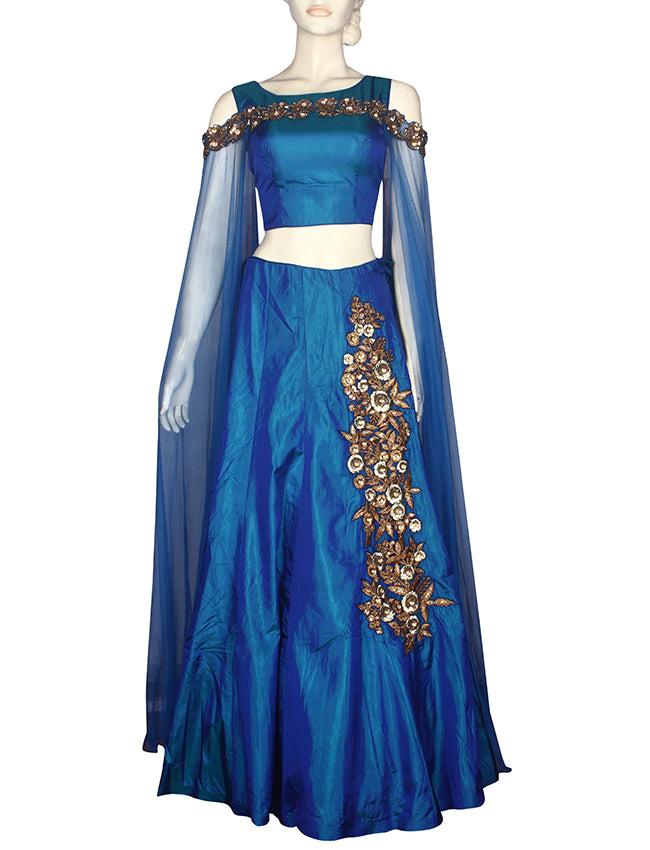 Peacock blue indowestern lehenga with zari resham embroidery and handwork