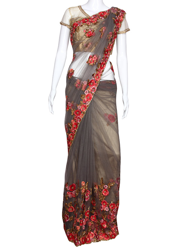 Grey party wear saree with resham embroidery and handwork