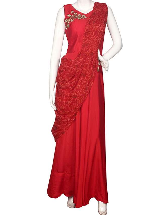 Deep red party wear suit with handwork