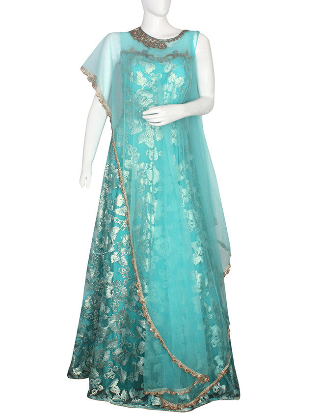 Aqua blue cape gown with lace and handwork
