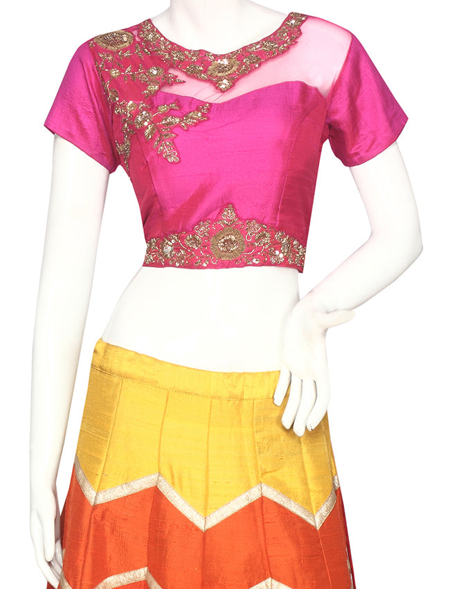 Multi indowestern lehenga with zardosi work
