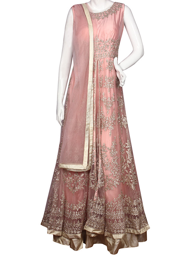 Peach anarkali suit with zari thread cording