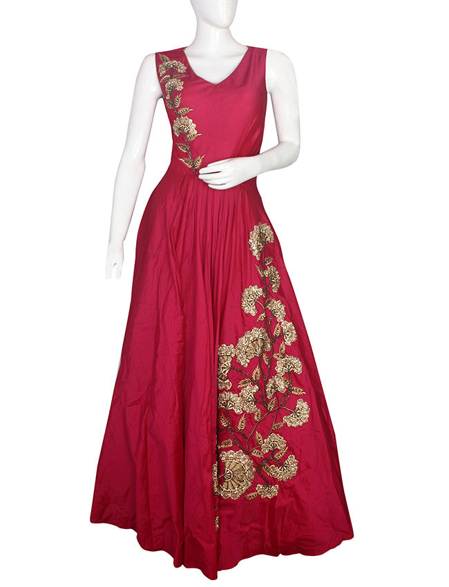 Deep pink indowestern gown with zari embroidery and handwork