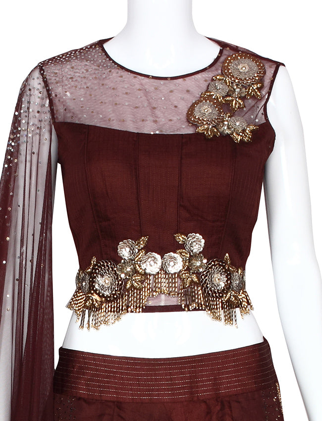 Brown indowestern lehenga with sequins and cutdana work