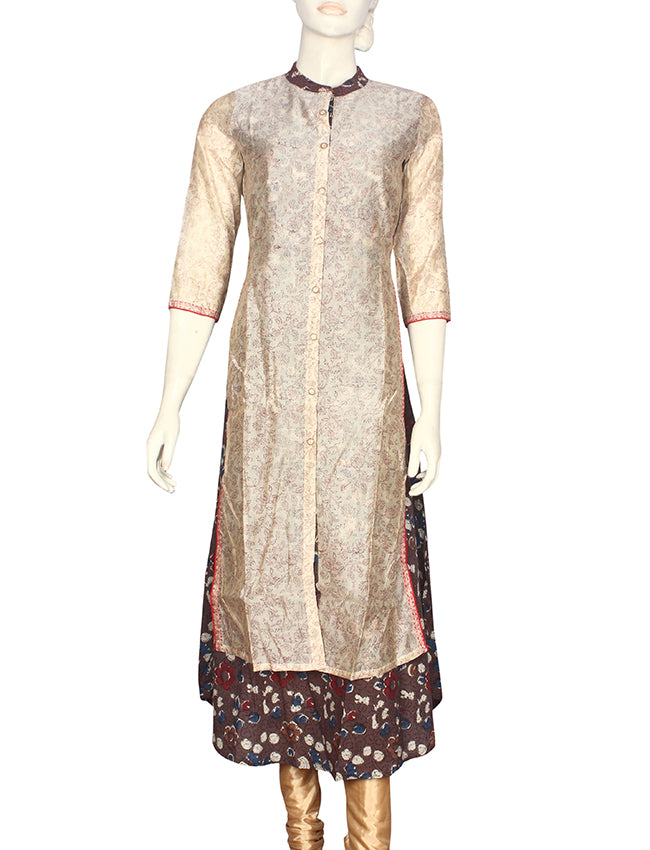 Grey and cream jacket style printed kurti