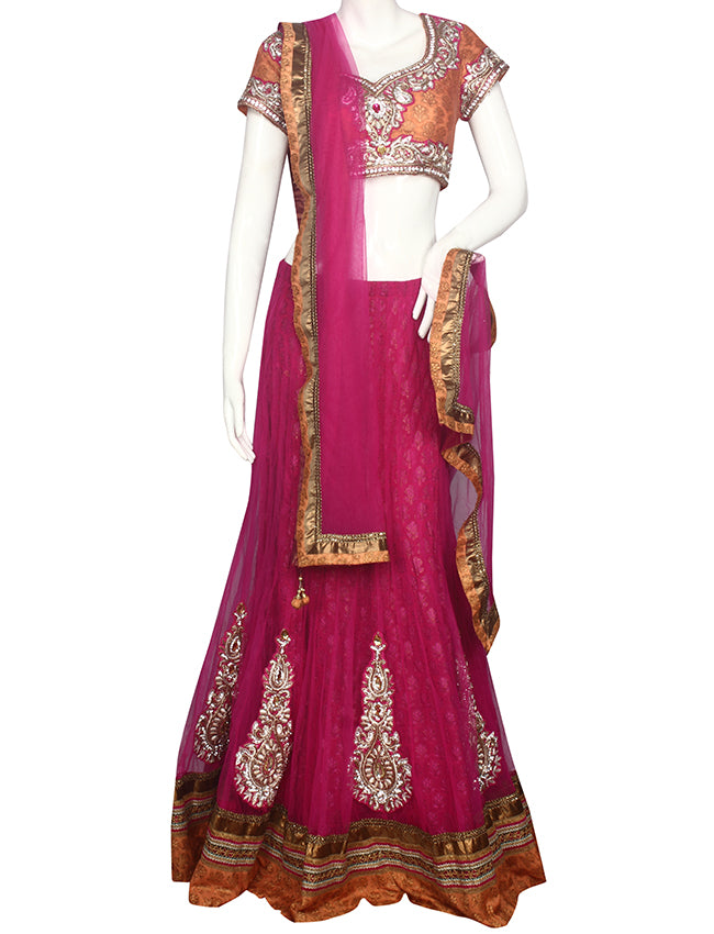 Dark pink peach lehenga with zari embroidery and handwork