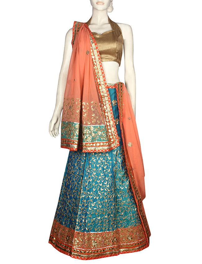 Peacock blue unstitched lehenga with zari embroidery and gotta patti