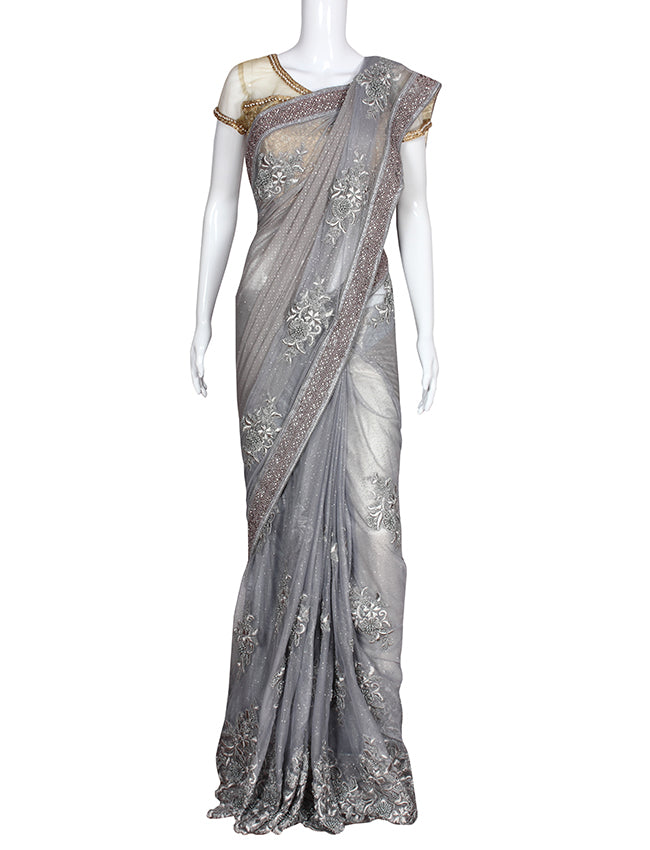 Grey party wear saree with pearl diamante and resham embroidery