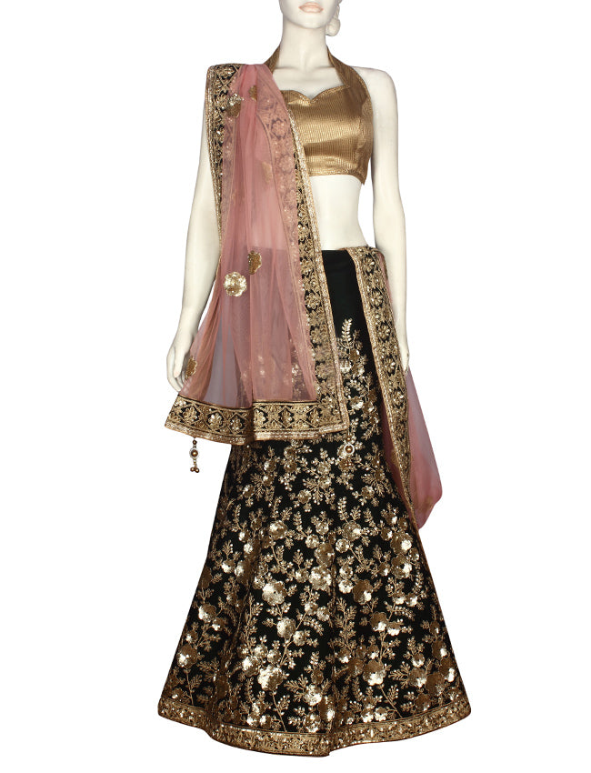 Bottle green bridal lehenga with sequins and zari embroidery