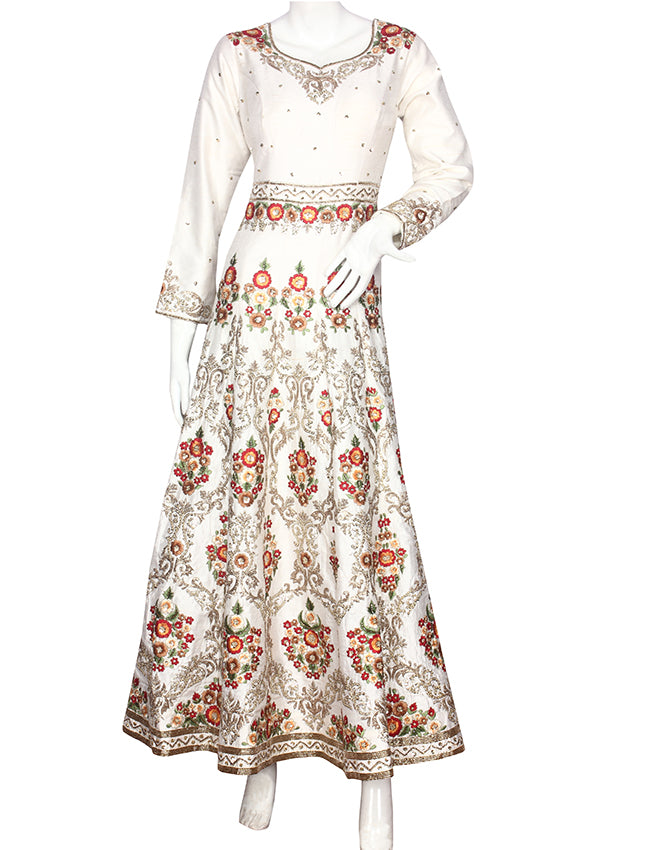 White anarkali with sequin pita work and resham embroidery