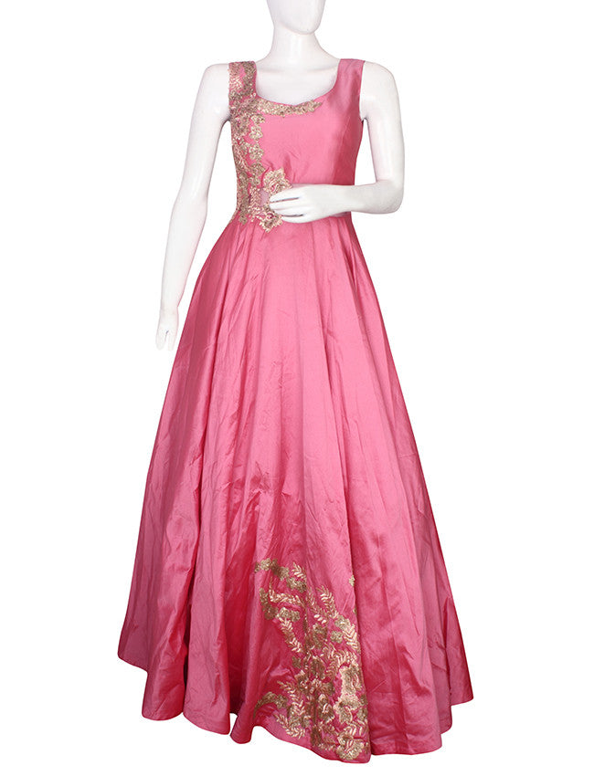 Rose pink indowestern gown with sequins and resham embroidery