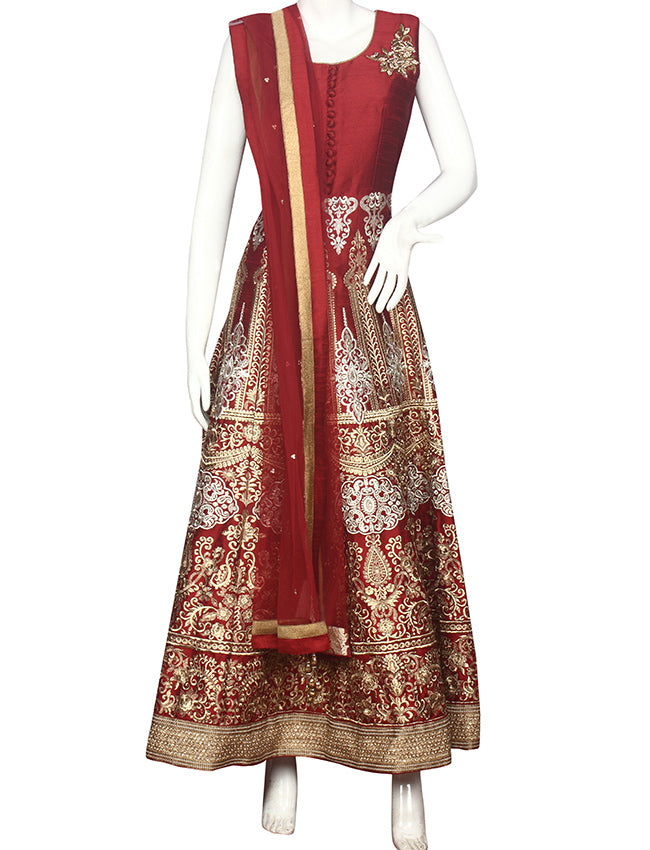 Maroon anarkali with zari embroidery and handwork