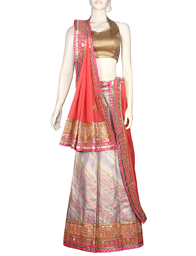 Multi foil printed unstitched lehenga with gotta patti
