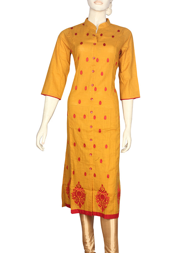 Mustard yellow kurti with resham embroidery