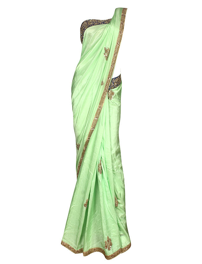 Pista green saree with zardosi sequins and zari embroidery