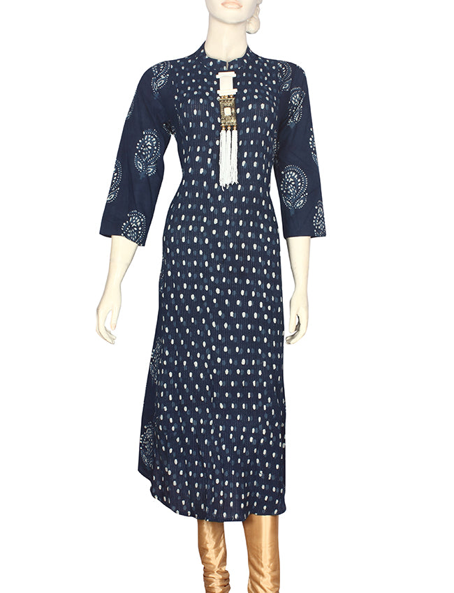 Blue printed party wear kurti